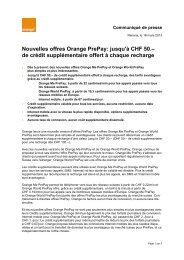 Nouvelles offres Orange PrePay: jusqu'à CHF 50