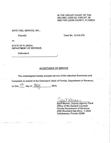 Gate Fuel Service, Inc. v. DOR - Florida Sales Tax Attorney