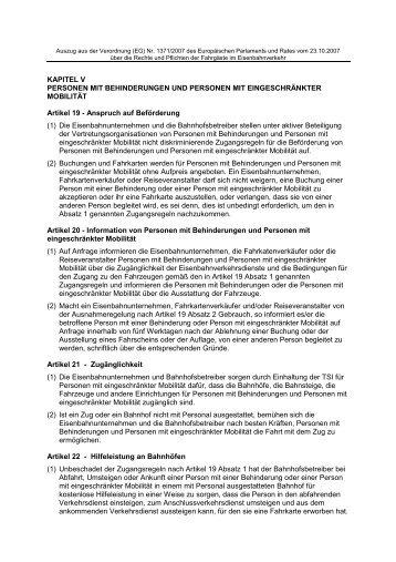 Auszug aus der Verordnung (EG) Nr. 1371 2007 (PDF) - ABB eV
