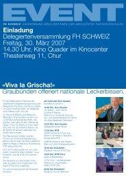 Einladung Delegiertenversammlung FH SCHWEIZ Freitag, 30. März ...