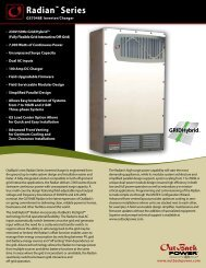 Radian Series GS7048E Spec Sheet - OutBack Power Technologies