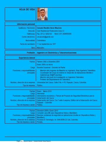 Curriculum Vitae Europass - Universidad del Cauca