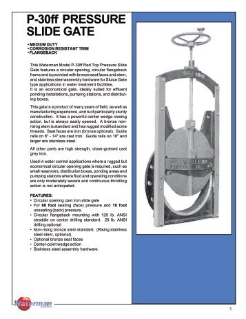 P-30ff PRESSURE SLIDE GATE - Waterman Industries