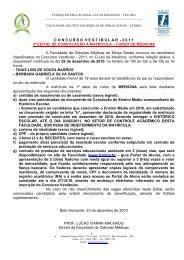 2 0 1 1 3º EDITAL DE CONVOCAÇÃO À MATRÍCULA