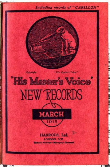 His Master's Voice New Records Catalogue March 1915