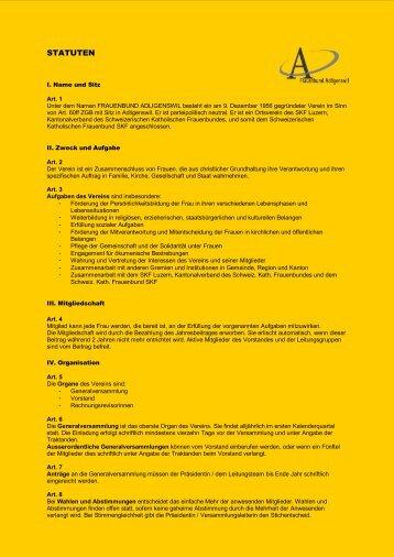 STATUTEN - Frauenbund Adligenswil