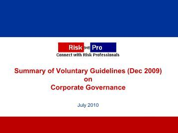 Riskpro's Summary of MCA Guidelines