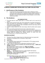 Guidelines on Blood Culture collection - the Royal Cornwall ...