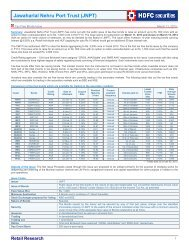 Jawaharlal Nehru Port Trust (JNPT) - HDFC Securities