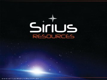 Diggers and Dealers Conference Presentation - Sirius Resources