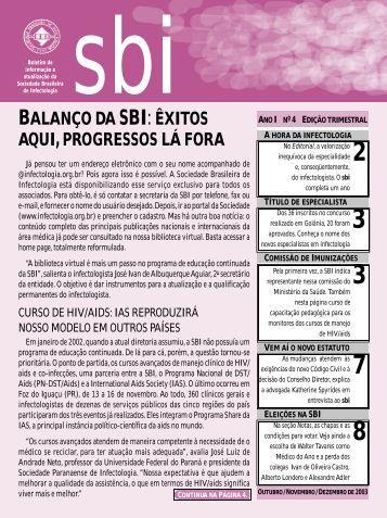 Boletim SBI: ano I - nº 4 - Sociedade Brasileira de Infectologia