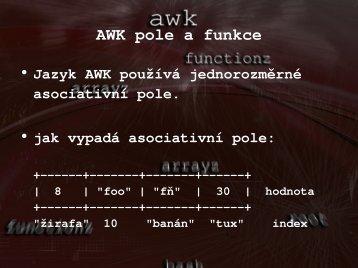 AWK pole a funkce