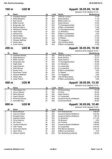 100 m U20 M Appell: 30.05.09, 14:30 200 m U20 M Appell ... - LA-Bern