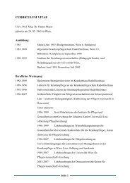 curriculum vitae - Institut für Pflegewissenschaft - Universität Wien