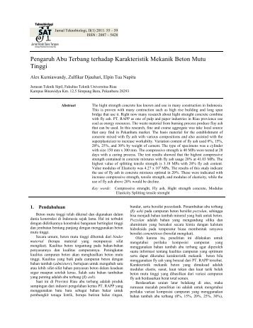 Pengaruh Abu Terbang terhadap Karakteristik Mekanik Beton Mutu ...