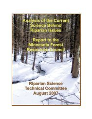 Analysis of the Current Science behind Riparian Issues - Minnesota ...