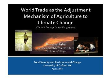 World trade as the adjustment mechanism of agriculture to climate ...