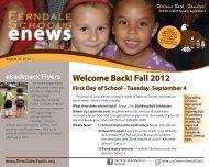 Welcome Back! Fall 2012 - Ferndale Public Schools