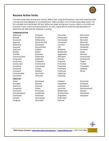 Resume Action Verbs   WGU Alumni Community  Resume Verbs