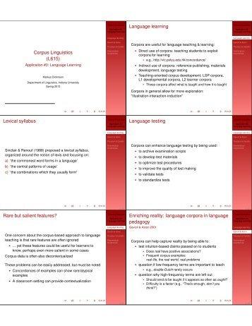 Corpus Linguistics (L615) Language learning ... - Indiana University
