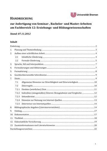 Handreichung wissenschaftliches Arbeiten FB12 - Universität Bremen