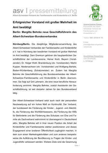 asv pressemitteilung - Albert-Schweitzer-Verband