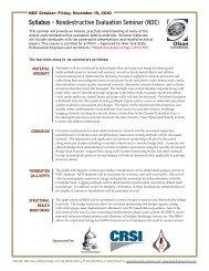 Syllabus - Nondestructive Evaluation Seminar (NDE) - Olson ...