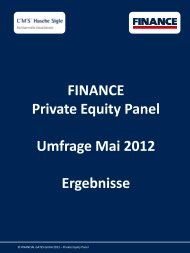FINANCE Private Equity Panel - Umfrage Mai 2012 - Finance Magazin