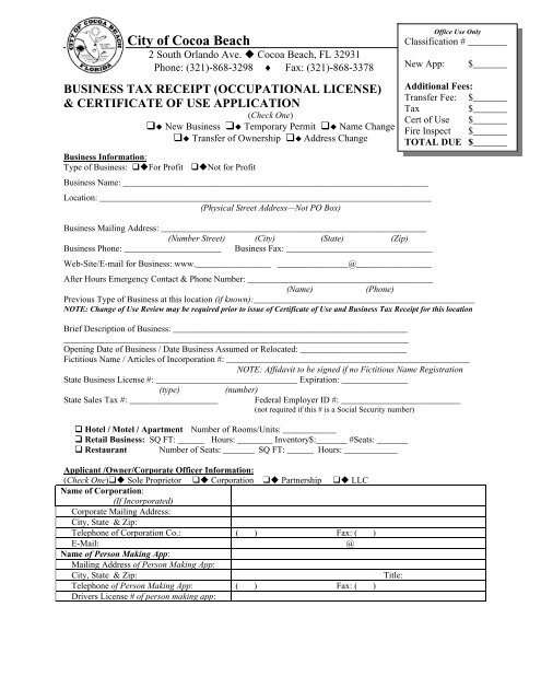 Business Tax Receipt Application/Certificate of Use - City