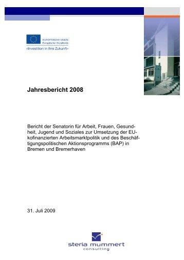 Jahresbericht 2008 - bremer und bremerhavener arbeit