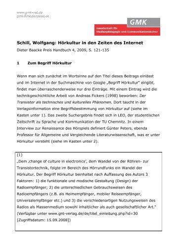 Schill, Wolfgang: Hörkultur in den Zeiten des Internet