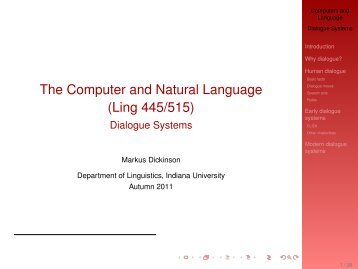 Dialogue Systems - IU Computational Linguistics Program - Indiana ...