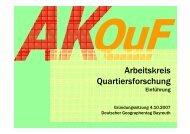 Einführung (Olaf Schnur) - Arbeitskreis Quartiersforschung