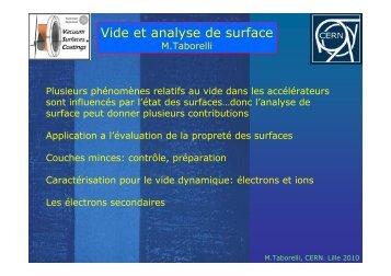 Vide et analyse de surface