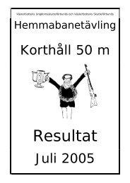 Förbundets hemmabanetävling, korthåll - Västerbottens Skytte