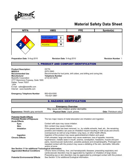 OCTG MSDS pdf - Mid-Continent
