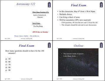 Astronomy 122 Final Exam Final Exam Outline