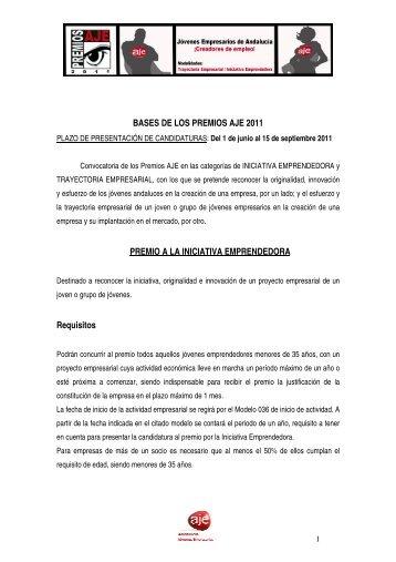 Bases Premios AJE 2011 - Asociación de Jóvenes Empresarios