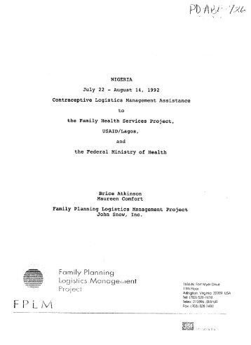 Family Planning Logistics Manageent - part - usaid