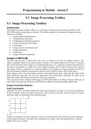 Programming in Matlab – lesson 5 5.1 Image Processing Toolbox ...