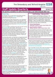Staff Update Quarterly - Royal Shrewsbury Hospitals NHS Trust