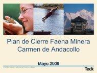 Plan de Cierre Faena Minera Carmen de Andacollo - IIMCh