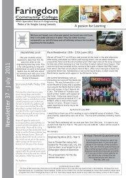 Newsletter 37 - July 2011 - Faringdon Community College