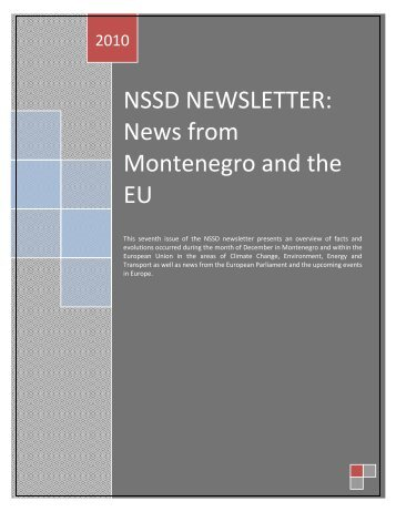 NSSD NEWSLETTER: News from Montenegro and the EU