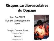 Dopage : Risques cardiovasculaires - Club des Cardiologues du Sport