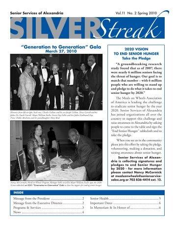 Silver Streak, Vol.11 No. 2 Spring 2010 - Senior Services of Alexandria