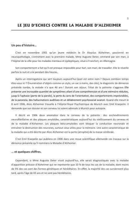 le jeu d'echecs contre la maladie d'alzheimer - Fédération Française ...