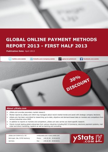 global online payment methods report 2013 - first half ... - yStats.com