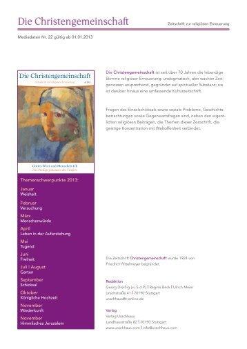 Mediadaten - gültig ab 01.01.2013 - Verlag Freies Geistesleben