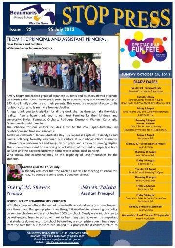 Issue 22 Stop Press 25 July 2013 - Beaumaris Primary School